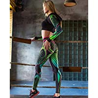 Pattern Printing Women's Fitness Leggings High Waist Sports Leggings Female Fitness Leggings Push up Stretch Tights Fitness Pants - Green,S