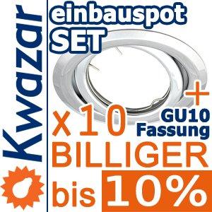 10er Set K-19 Einbaustrahler Inkl Gu10 230v Fassung - Chrom Poliert Silberglnzend von Kwazar
