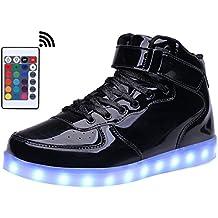 Mohem shinynight High Top zapatos de LED Light Up USB De Carga intermitente Zapatillas