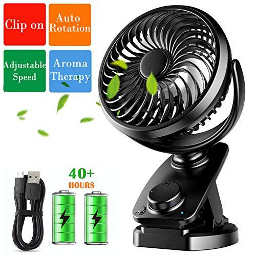 Sendowtek Mini Ventilador USB Clip 4400mAh Batería Recargable, Ventilador Pequeño USB Personal con función de Banco de Potencia para la Oficina/Hogar/Viajar/Acampar/Cochecito de Bebé(Negro)