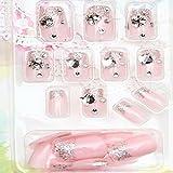 Evtech(tm) 24 PC Nagel-Abziehbilder-Perlen-Diamant Rhinestone-Kristall Französisch Künstliche Halb Falsche Nägel rosa Nail Art Tips Fashion Style Glitters-Nagel-Kunst-Werkzeug