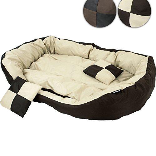 hundeinfo24.de Bequemes Hundebett Haustierbett Bett für Hunde inklusive Kissen in 3 verschiedenen Grüßen und 2 verschiedenen Farben