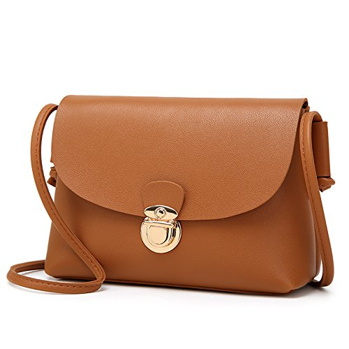 Mefly Moda Spalla Sacchetto Goffrato Crossbody Bag Verde brown