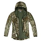 Zicac Veste jacket manches longue à capuche camouflage Softshell imperméable homme pour camping chasse pêche (M)
