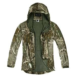 Zicac Veste jacket manches longue à capuche camouflage Softshell imperméable homme pour camping chasse pêche (L)