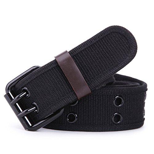 Leathario Damen Herren Baumwolle Gürtel Jeansgürtel Männergürtel Frauengürtel Gürtelschnalle Belts 112cm, Schwarz