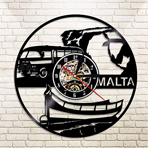 cmdyz Malta Wanduhr Repubblika TA \'Malta Stadtbild Souvenir Skyline Vinylaufzeichnung Wanduhr Europäische Reise Wandkunst
