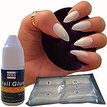 600piezas de uñas 10tamaños–falso uñas Consejos tamaño mediano, Natural opaco acrílico uñas postizas pegamento fuerte para salones de manicura y Nail Art DIY–-libre