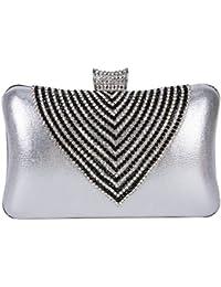 Bolso de embrague de las mujeres fruncido Bolso Fiesta Banquete de Noche Elegante Diamante de Imitación Para Mujeres