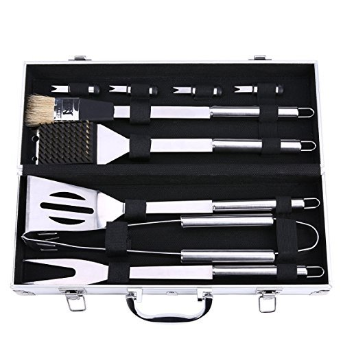 Grillbesteck Koffer, Discoball Edelstahl Grillbesteck-Set Profi 9-teilig im Aluminium BBQ Grill Zubeh?r Set f¨¹rs Camping, Barbecue Grillen Kit f¨¹rs Dad,Silber