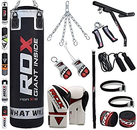 RDX Punch Bag Boxing Set 4FT 5FT Filled Heavy Gloves Bracket Chains Training MMA 17PC Punching Bags