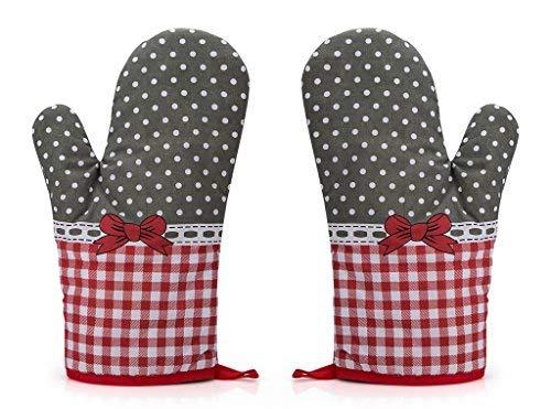 Rusty Bob Ofenhandschuhe zum Backen | Backofenhandschuh Hitzebeständig | in vielen lustigen Designs | Koch und Topflappen, Baumwolle, Grau-rot Gepunktet-2er Set, 1 - Topflappen