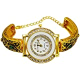 Gauri's A Traditional Beautiful Hand Craved Watch with Zircon Gold Plated Bracelet For Girl's AIW705