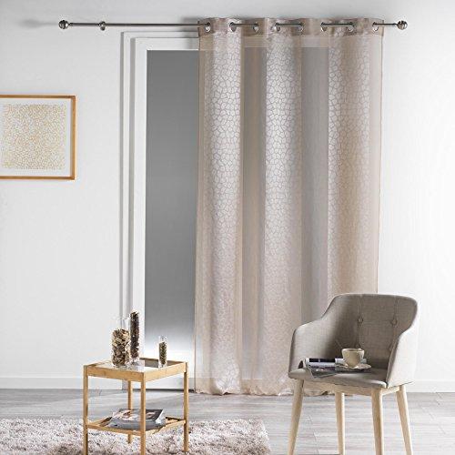 Douceur d'interieur, tenda in voile da 140 x 260 cm, jacquard, con occhielli, colore: beige