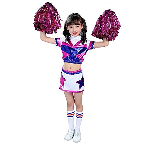 (G-Kids Mädchen Jungen Cheerleader Kostüm Uniform Kinder Cheerleader Karneval Fasching Party Halloween Kostüm Jazz Bekleidung mit 2 Pompoms Socken (Mädchen, Köpergröße 150cm))