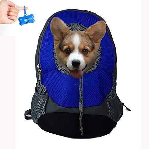 Teammao Haustier Hunderucksack Schultasche Outdoor Tragbar Laufen Reisen Weich Atmungsaktiv Größe Verstellbar Hund Katze Rucksack Tasche Geeignet für kleine Haustiere. (S, Blau)