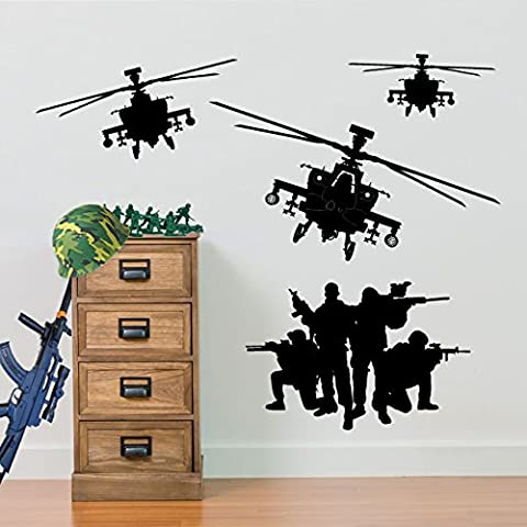 Army Helicopter Military Soldiers Apache Swat Wall Decorations Window Stickers Wall Decor Wall Stickers Wall Art Wall Decals Stickers Wall Decal Decals Mural Décor Diy Deco Removable Wall Decals Colorful Stickers