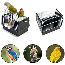 Transportín de pájaros portátil para exteriores con cuenco para beber y alimentar, jaula de viaje ligera para loro, canario, periquito, cacatúa, pájaro, 8.26 x 5.1 x 5.1 pulgadas