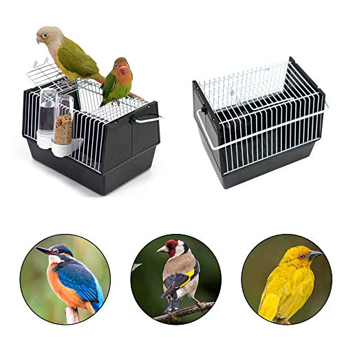 """Womdee Vogelkäfig, Bird Cage Travel Carrier, Wellensittlichkäfig mit Vogelfutterstation, Transportkäfig Vogelbauer Set für Sittiche und Finken, 8.26"""" x 5.1"""" x 5.1"""", Black"""