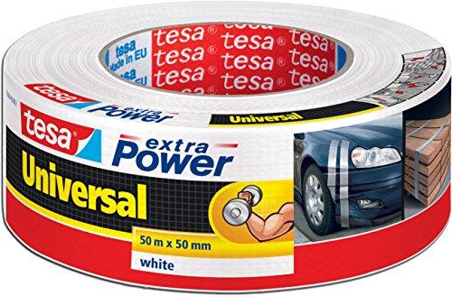 tesa 56389 Reparaturband extra Power Universal, beschriftbar, UV-beständig, wasserfest, 50m x 50mm, weiß (2er Pack)
