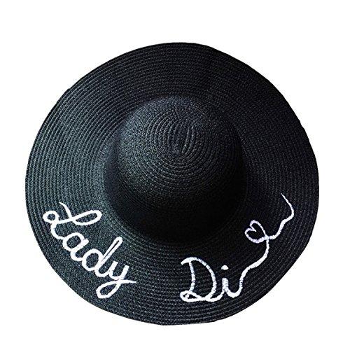 Butterme femme mode Pliable Large Bord Chapeau de Paille lettre broderie Chapeau de Plage Anti UV souple chapeau de soleil UPF 50+ noir