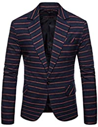 9e3c55481bd9 Men Suits, DIKEWANG Men's Slim Button Suit Formal Stripe Turn-Down Collar  Tops Waistcoat Solid Slim Fit Jacket Coat Fashion Brand Blazer…
