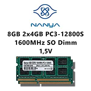 Nanya 8 Go (2 x 4 Go) DDR3 1600 MHz (PC3 12800S Kit double canal) So DIMM mémoire RAM