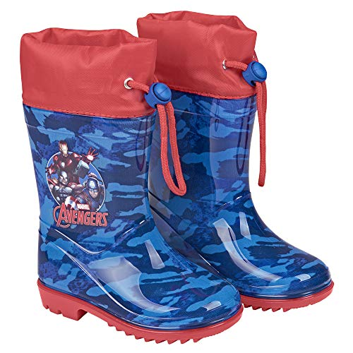 PERLETTI Marvel Avengers Rain Boots for Kids - Avenger Waterproof Wellies Shoes with Anti Slip Outsole - Colored Wellington for Boy with Marvel Heroes - Blue with Red Details