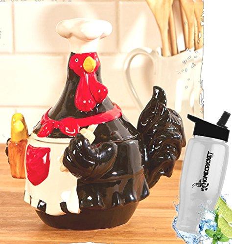 Geschenk; Country Farmhouse Kitchen Chef Keramik Hahn Cookie Jar Decor + Gratis Bonus Wasserflasche von Home Cricket homecricket Keramik Cookie Jar