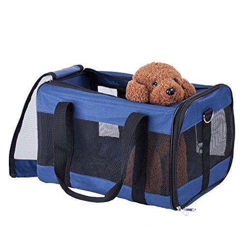 BELLAMORE GIFT Groß Transportbox Hundetasche für Hunde und Katze Hundebox Katzentasche 46x28x28cm PC18 (DARK-BLUE)