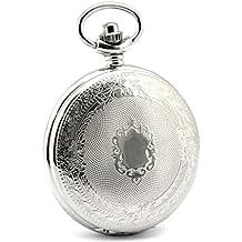 Infinite U Escudo Encaje Números Romanos Hueco Esqueleto Acero Reloj de bolsillo Mecánico Plateado