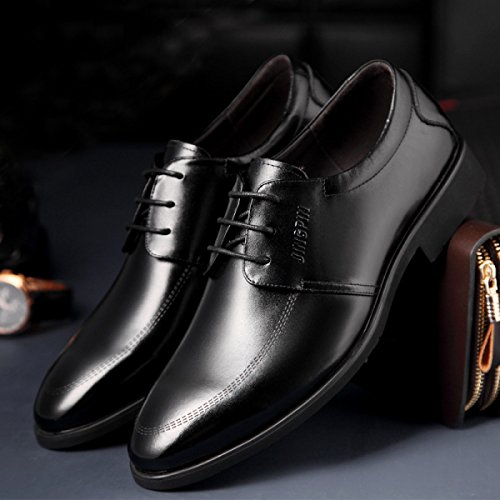 GRRONG Herren Lederschuh Echtes Leder-Geschäft-formales Kleid Schwarz Braun Black