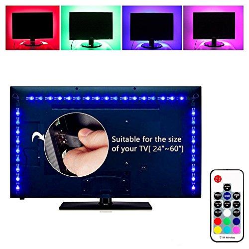 ELINKUME RGB LED Streifen mit Drahtlose Fernbedienung, 60LEDs 5050 SMD, 2M/6.56ft USB-Stromversorgung für Desktop Monitor TV Screen Backlight