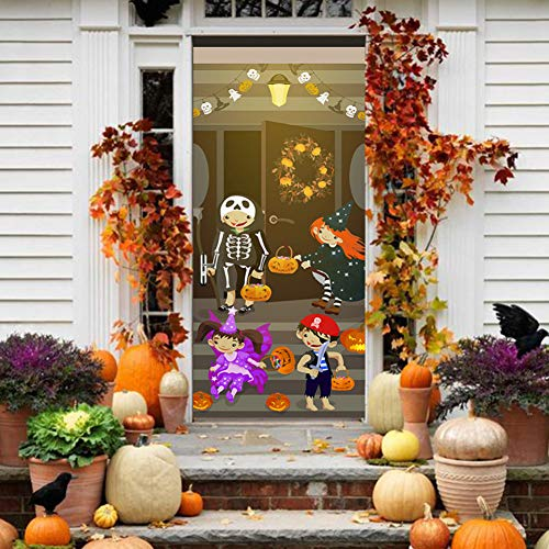 XCGZ Wandsticker Nachahmung3DTür Aufkleber Kunst Wandaufkleber Halloween Halloween Party Kann Entfernt Werden