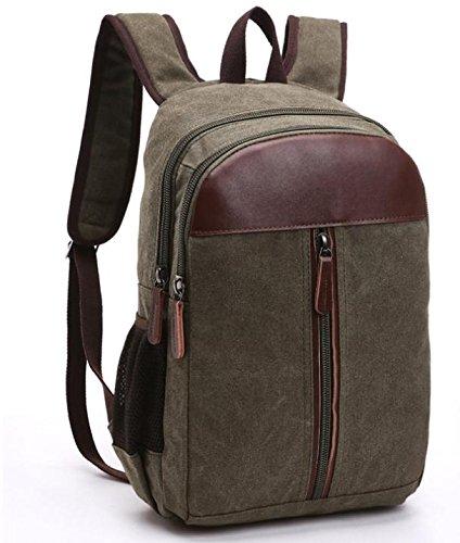 &ZHOU Segeltuchtasche, Mode-Canvas mit Leder Rucksack Computer Tasche Rucksack Schultasche Reisen, unisex army green