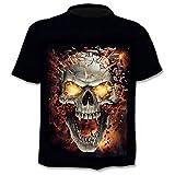 T-Shirt Homme Tête de Mort - Gothique - Manches Courtes - Amusant - Maillot - Métal...