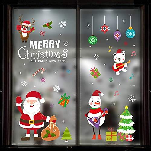 HAPPYLR Weihnachtsschmuck Szene Layout Weihnachtsbaum Alter Mann Kreative Geschenk Glasfenster Aufkleber Set, Weihnachten Fensteraufkleber Hyc95