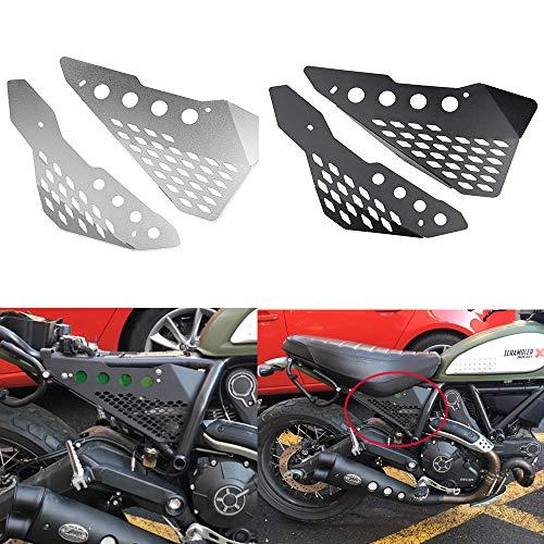 XX eCommerce Motorradzubehör Aluminium Side Mid Rahmen Cover Panel Schutzfolie Verkleidung für Ducati Scrambler Sixty/Desert Sled/Vollgas/Urban Enduro (Schwarz) 17 Flat Panel