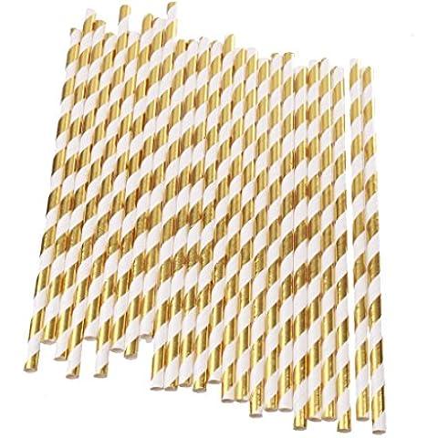 25pcs Lámina de Oro Pajitas Para Beber Raya de Verano Decoración de Barra de Partido de Cóctel de Jugo