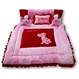 Pinks & Blues New Born Baby full sleeping bedding set with 2 side pillows in a shape of puppies. 0 - 30 months (PINK RED)