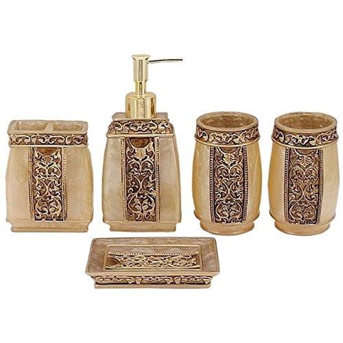 Yimidear 5-teilig Badezimmer Set: Seifenspender Zahnbürstenhalter Zahnputzbecher Seifenschale für Hotel & Hause (Bad Accessoires Set Gold)