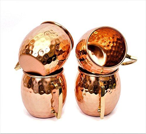 Kupfer Becher (4er Set) | PREMIUM QUALITÄT | 475 ML | Massives Kupfer Moscow Mule, Spiegelglanz, Extra Shine | 100% echtes Produkt |