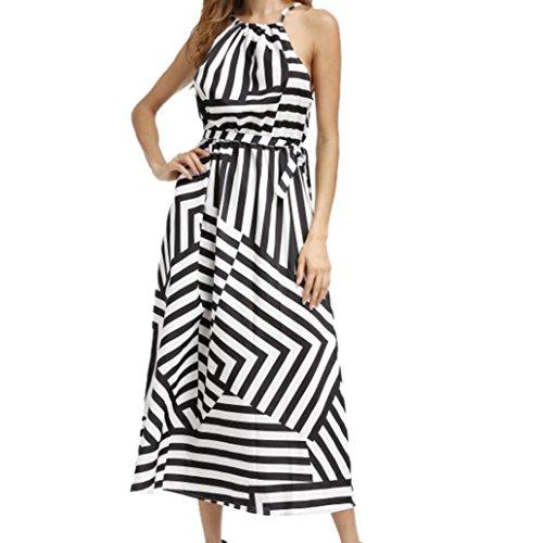 FEITONG Frauen Kleid Boho Maxi Sommer Abendliche Party Strand Gestreiftes Kleid Schwarz