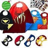 Disfraz De Superhéroes Para Niño - Regalos De Cumpleaños Para Niña - 4 Capas Y Máscaras - Juguetes Para Niños Y Niñas - Logo Brillante De Spiderman