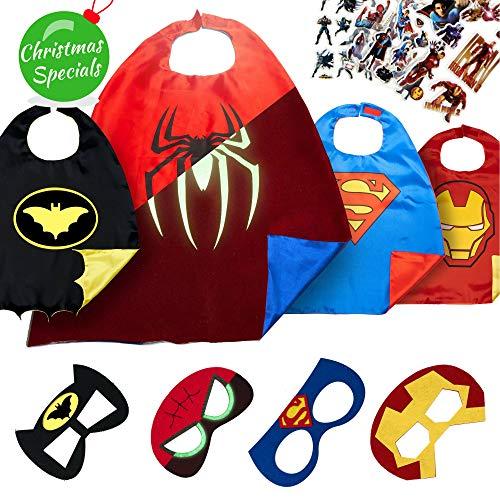 (LAEGENDARY Superhelden Kostüm für Kinder - Kleinkind Superhelden Party Outfit - Spielzeug für Jungen und Mädchen - 4 Capes Und Maske - Im Dunkeln Leuchtendes Spiderman Logo)