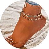 Simsly Trois Couches Bracelet de Cheville Chaîne de Pied avec Feuilles Accessoires Bijoux pour Les Femmes et Les Filles (Doré) Jl-083