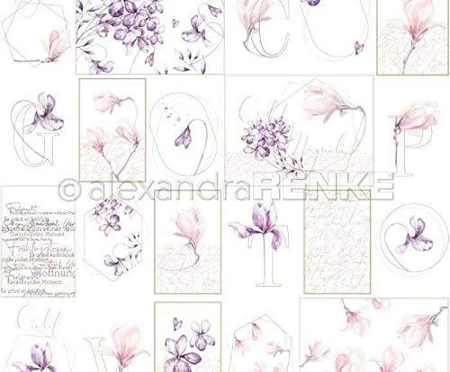 One-sided Scrapbook-Papier (1ks) - Blume-Blatt-Geometrie, Renke Alexandra, 30 30 Natur -, Papier -, Druck -, Scrapbooking -