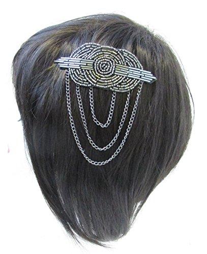 Perles en argent gris anthracite Peigne à cheveux vintage années 1920 1920 Gatsby Bandeau V19 * * * * * * * * exclusivement vendu par – Beauté * * * * * * * *