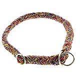 Dinoleine Hunde-Halsband/Stoppwürger, Größenverstellbar, Natürliche Baumwolle, Größe: L/ 60 cm, Regenbogen, 131013