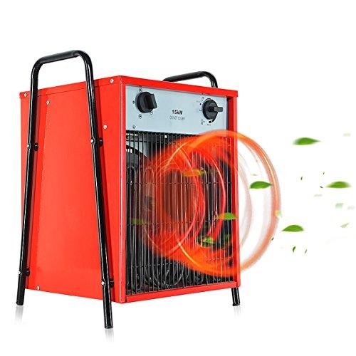 Modern life Heizlüfter Elektroheizung Elektroheizer Bauheizer Heißluftgenerator (max. 15 kW, 3 Heizstufen, stufenloses Thermostat, Standgerät, Tragegriff )Elektroheizgebläse Gewächshaus-ventilator Thermostat